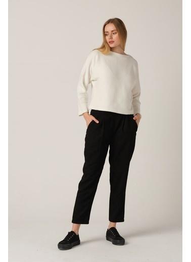 Nismia Pileli Salaş Kadife Bağcıklı Pantolon - Siyah Siyah